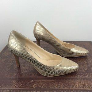 COLE HAAN GRAND OS Vesta Gold Snakeskin Heels